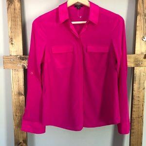 New- Ann Taylor Fuchsia Pink Silk Button Up Blouse